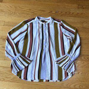 Ann Taylor Petite Mutli colored ruffle cuff blouse